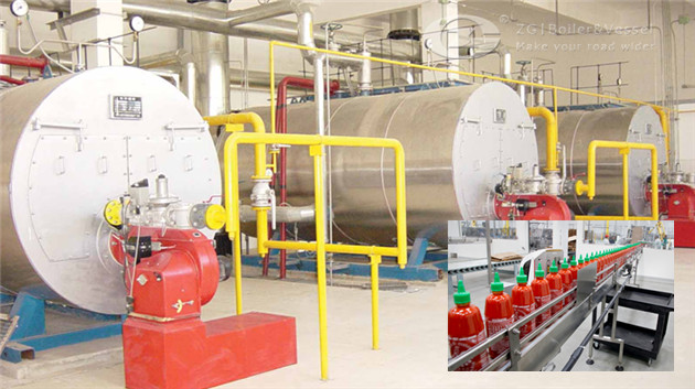 Horizontal steam boiler for chili sauce factory image